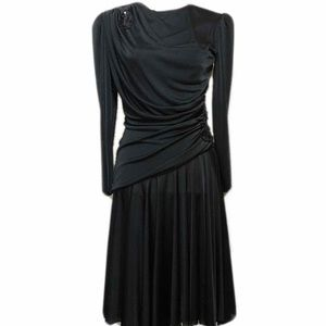VINTAGE Black Dress 40's Style Midi Classic retro